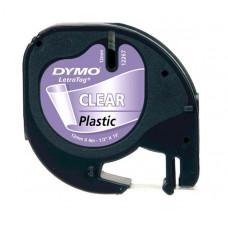 DYMO LetraTag Plastikinė Juostelė 12mm x 4m / juodas ant skaidrios (S0721540)