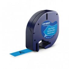 DYMO LetraTag Plastikinė Juostelė 12mm x 4m / juodas ant mėlynos (S0721600)