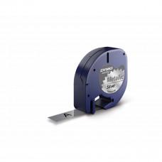 DYMO LetraTag Plastikinė Juostelė 12mm x 4m / juodas ant sidabrinės (S0721710)