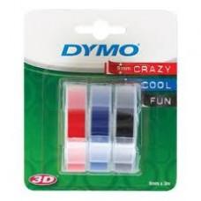 DYMO 3D Juostelės Mechaniniams Etikečių Spausdintuvams 9mm x 3m / raudona/mėlyna/juoda (S0847750)