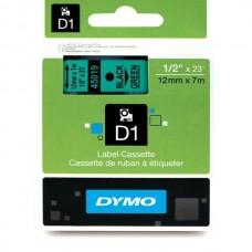 DYMO D1 Juostelė 12mm x7m / juodas ant žalios (45019 / S0720590)