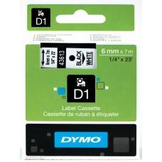 DYMO D1 Juostelė 6mm x7m / juodas ant baltos (43613 / S0720780)