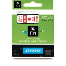 DYMO D1 Juostelė 9mm x 7m / raudonas ant baltos (40915 / S0720700)